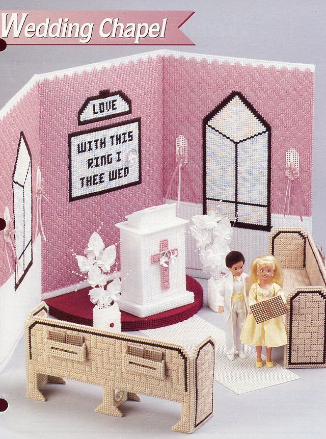 Wedding Chapel fits Barbie Doll Annie's Plastic Canvas Pattern Leaflet NEW