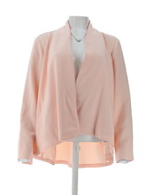 H Halston Long Slv Open Front Jacket Seam Pearl Blush 12 NEW A303200 - $37.60