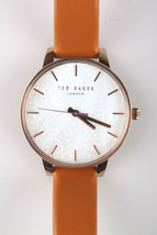 Ted Baker London TE50013007 Tan Genuine Leather Band & Rose-Gold-Tone Watch NWT