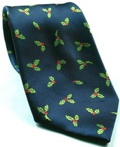 Christmas Holly Print Holiday Blue Green Red Novelty Tie - $15.84