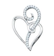 10k White Gold Round Diamond Heart Love Fashion Pendant 1/10 Ctw - $161.00