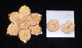 Gold Wire Mesh Leaf & Rose Pin and Matching Pierced Earrings - $14.80