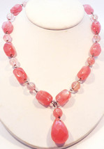 Handmade Vintage Pink Rose Quartz Sterling Silver Y Beaded Necklace - $178.20