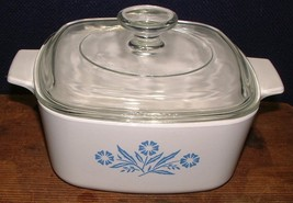 Vintage 1970's Blue Cornflower 1.5 Qt Square Casserole A - 1 1/2 With Lid - $21.77