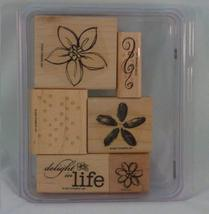 Stampin' Up! DELIGHT IN LIFE Set of 6 Decorative Rubber Stamps Retired - $25.00