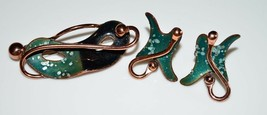 VTG MATISSE RENOIR Signed Large Green Enamel Theatrical Mask Brooch Earr... - $123.75