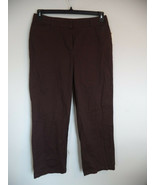 Petites Coffee Brown Covington Signature Pant. 12P. 100% Cotton. Straigh... - $23.76