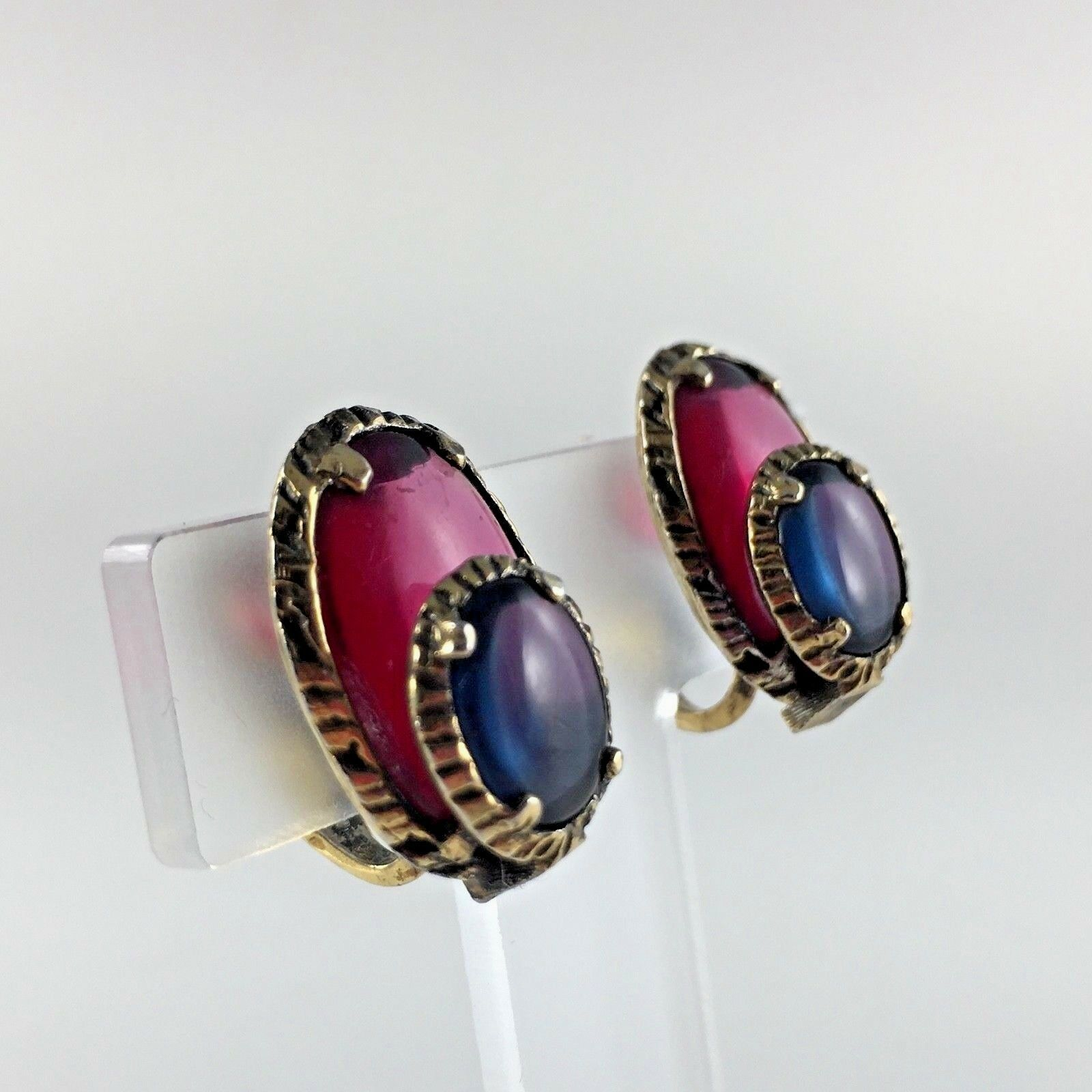 Trifari Cabochon Jelly Belly Earrings Blue Red Gold Tone Signed Vtg Woman Gift
