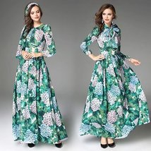 Autumn and winter round neck long-sleeved Slim custom long dress - $89.00