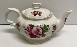 ❤RARE VINTAGE LEFTON RED PINK ROSES W/ HEART LID CHINA TEAPOT -MADE IN E... - $75.00