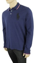 New Polo Ralph Lauren Big Pony Long Sleeve Tipped Blue Mesh Polo Shirt L $125 - $46.52