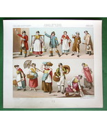 ENGLAND Costume Fashion Milkmaid Washerwomen etc - COLOR Litho Print by ... - $6.71