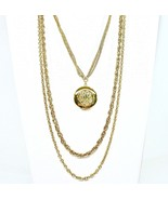 Multi Chain Locket Necklace, Embossed Locket, Five Chains, Gold Tone, 26... - $30.00