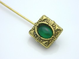 Green Aventurine Stone Gold Tone Stick Pin Vintage (B) - $7.92