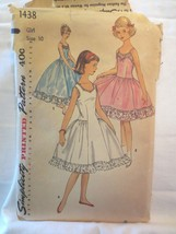 "Simplicity 1438 Vintage 1950's Slip or dress 2 lengths  sz 10 Bust 28"" - $12.00"