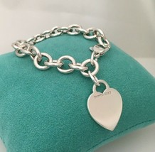 """SMALL 6.5"""" Tiffany & Co Sterling Silver Blank Heart Tag Charm Bracelet - $195.00"""