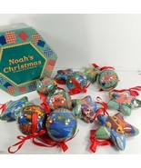 1996 Vintage Noah's Ark Paper Mache Ornament Set 12 In Box- Spheres + Stars (cu) - $21.78