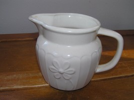 Vintage Small Cream Glazed Pottery Pitcher Creamer with Flower on Front ... - $8.59