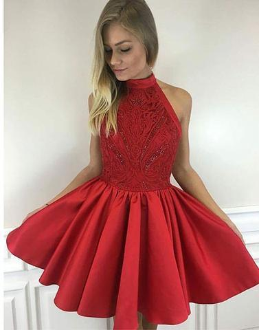 Cute red A line high neck short prom dresses, homecoming dresses,PD0907