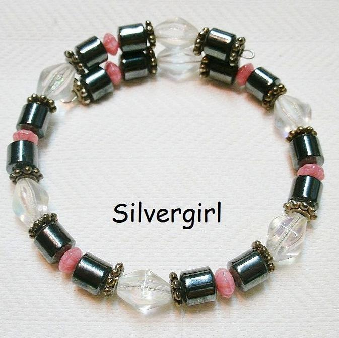 10 in hematite pink clear ab wrap bracelet   2