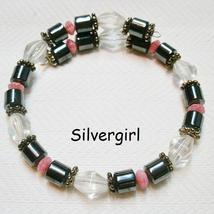 Colorful Handmade Memory Wire Wrap Beaded Bracelets Pink Black Clear - $14.99