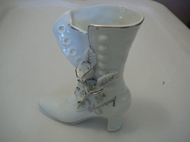 25th Anniversary Boot Vintage Silver Trim Floral Figurine Marked AB-11  ... - $9.90