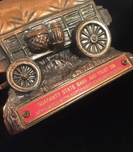 Vintage 50s Banthrico Cast Iron Stagecoach Bank, Guaranty State Bank image 5