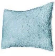 NEW Threshold Blue White All-Over Stitched Chambray King Sham Nwop - $13.49