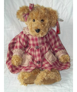 RUSS BERRIE BEARS FROM THE PAST #100262 FLORA GOLD FUR PLAID DRESS NWT R... - $33.52