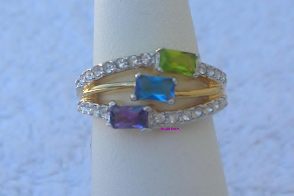 Peridot, Amethyst, Brazilian Blue Ladies Fashion Ring Size 9