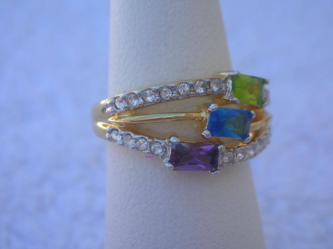 Peridot, Amethyst, Brazilian Blue Ladies Fashion Ring Size 8