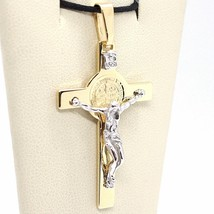18K YELLOW WHITE GOLD CROSS, JESUS & SAINT BENEDICT MEDAL BIG 2.1 INCHES, ITALY  image 2