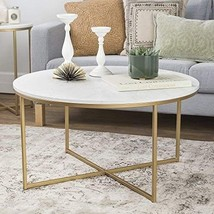 "Round  Coffee Table Modern Decor 36"" with X-Base  Faux Marble/Gold - €150,32 EUR"