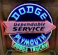 4FT X 4FT Dodge Plymouth Service Neon Sign *Custom Made *Gas & Oil Freight Ship - $2,500.00