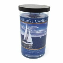 2 wick Village Candle Summer Breeze glass jar 24 oz Scented, Ocean Blue ... - $29.36