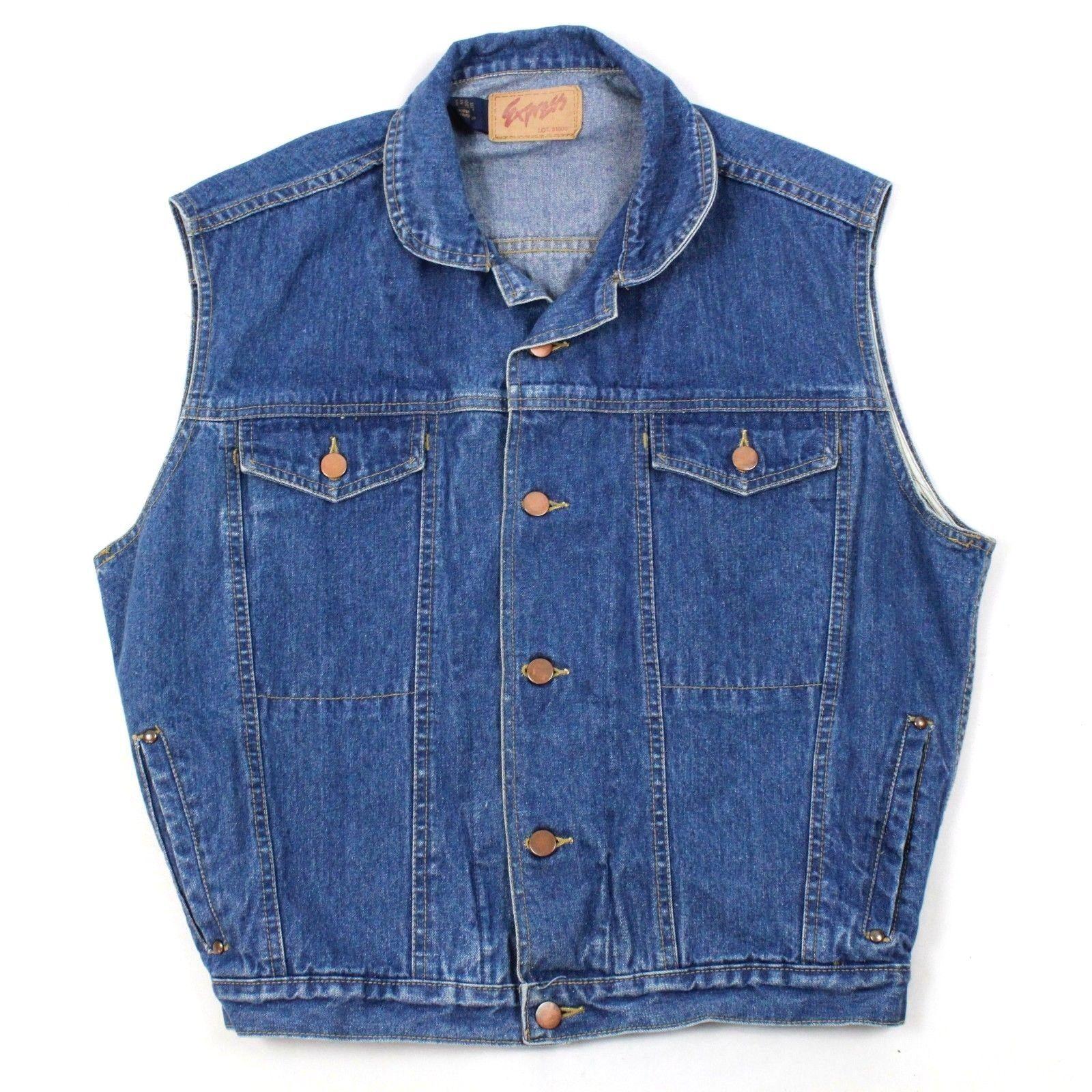 vintage express sans manche veste jeans adulte taille s gilet hommes 4 poche outerwear