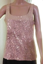Talbots Beige Sleeveless Sequined Blouse Women's Size S - Polyester/Rayon Blend - $12.73