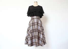 GRAY Plaid A Line Pleated Skirt High Waist Autumn Tea Length Midi Skirt US0-US20 image 5