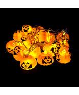 3M 16pcs Pumpkin Halloween String Lights Yellow AA Battery Power Decorat... - $14.99