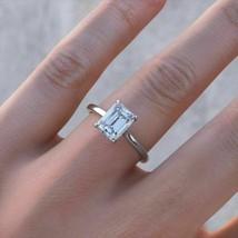 Certified 2.25Ct Holy White Emerald Cut Diamond Engagement 14K White Gol... - €232,75 EUR