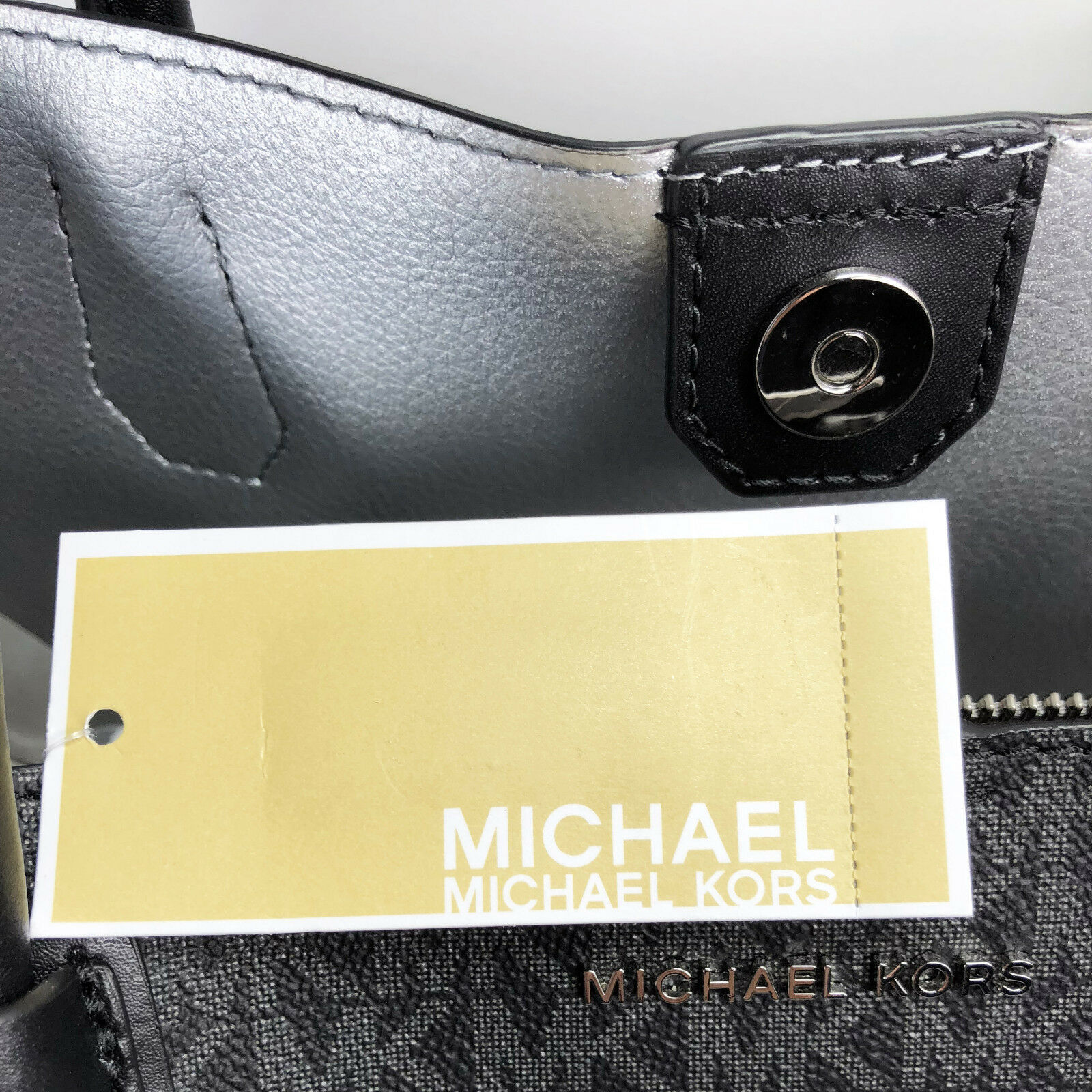 Michael Kors Mercer Corner LG Center Zip Signature Tote Convertable Black Pewter