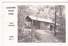 Capacon State Park West Virginia Cabin No. 7 Vintage Postcard 1955 - $2.64