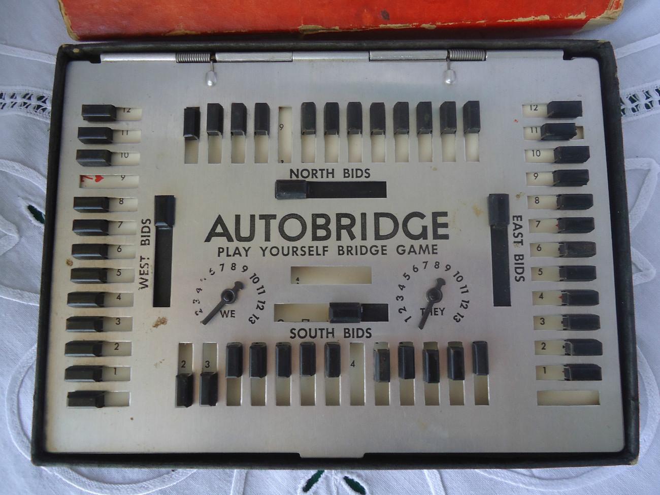 Vintage 1957 autobridge auto bridge game deluxe pocket for Charity motors bridge card