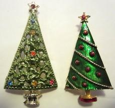Lot of 2 Vintage Green Enamel Christmas Tree Brooches Pins Rhinestones - $14.95