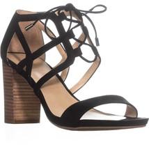 Franco Sarto Jewel Lace-up Heeled Sandals, Black, 10 US / 40 EU - $29.75