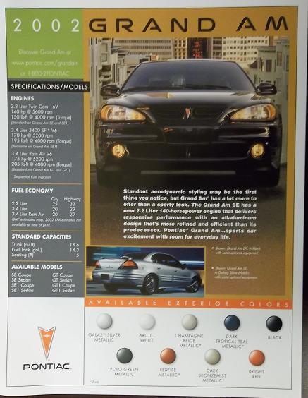 2002 Pontiac Grand Am Brochure - Specifications Sheet