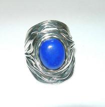 LARGE MODERNIST STUDIO ARTISAN STERLING SILVER BLUE STONE ISRAEL RING - $120.00