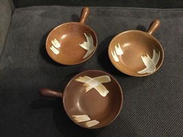 "Set of 3 Small Lug Bowls Pottery Pot Brown Splash 6"" to Handle & 4"" in D... - $11.87"