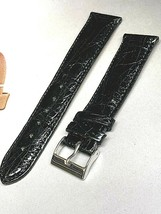 BULOVA MADE IN ITALY Crocodile 20mm Black watch band Premium Quality fit... - $54.23