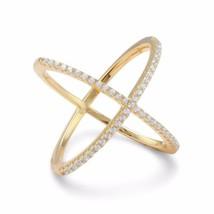 .925 Sterling Silver 18 Karat Gold Plated Criss Cross 'X' Women's Ring - $45.01